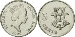 World Coins - Solomon Islands, Elizabeth II, 5 Cents, 2005, , Nickel plated steel
