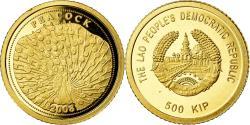 World Coins - Coin, Laos, Peacock, 500 Kip, 2008, , Gold