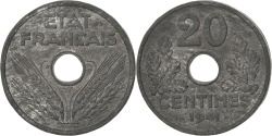 World Coins - FRANCE, 20 Centimes, 1941, KM #PE307, , Zinc, Gadoury #52.EP, 7.24