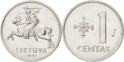 World Coins - Lithuania, Centas, 1991, , Aluminum, KM:85