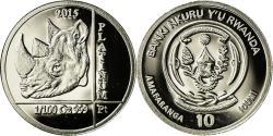 World Coins - Coin, Rwanda, Rhinocéros, 10 Francs, 2015, , Platinum