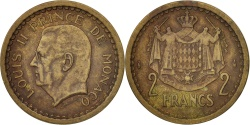 World Coins - Monaco, Louis II, 2 Francs, 1945, , Aluminum-Bronze, KM:121a