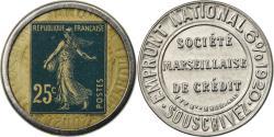 World Coins - Coin, France, Société Marseillaise de Crédit, 25 Centimes, Timbre-Monnaie