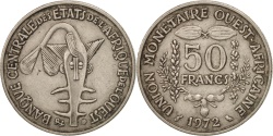 World Coins - West African States, 50 Francs, 1972, , Copper-nickel, KM:6