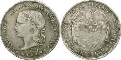 World Coins - Coin, Colombia, 5 Decimos, 1881, Medellin, , Silver, KM:161.1