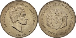 World Coins - Colombia, 50 Centavos, 1964, , Copper-nickel, KM:217