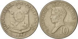 World Coins - Philippines, 10 Sentimos, 1972, , Copper-nickel, KM:198