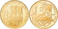 World Coins - San Marino, 50 Euro, 2004, Marco Polo, Proof, Gold, KM:466