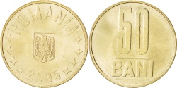 World Coins - ROMANIA, 50 Bani, 2005, Bucharest, KM #192, , Nickel-Brass, 23.75, 6.12