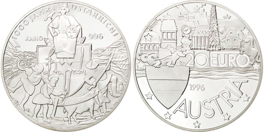 World Coins - AUSTRIA, 20 Euro, 1996, KM #39, , Silver, 24.10