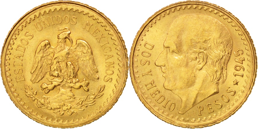 World Coins - Mexico, 2-1/2 Pesos, 1945, Mexico City, Gold, KM:463