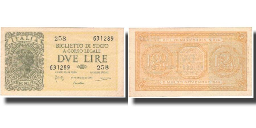 World Coins - Banknote, Italy, 2 Lire, 1944, 1944, KM:M11b, UNC(65-70)