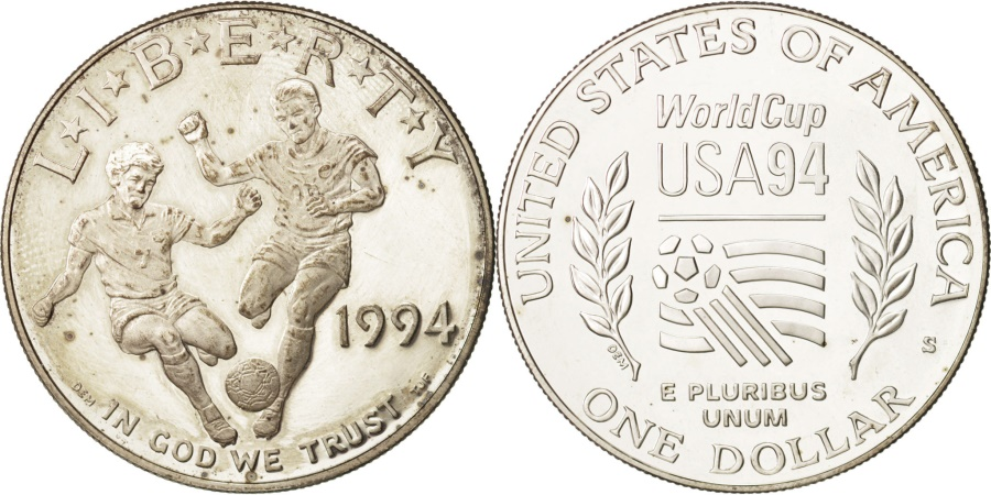 US Coins - United States, Dollar, 1994, Soccer World Cup, Silver, KM:247