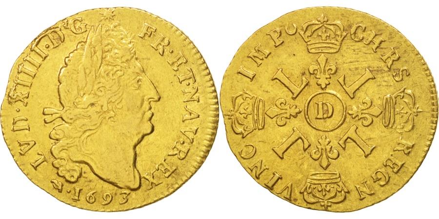 World Coins - France, Louis XIV, Louis d'or aux 4 L, 1693, Lyon, , Gold, KM:302.6