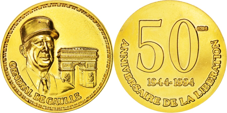 World Coins - France, Charles De Gaulle, 50th liberation anniversary, History, Medal, 1994,...