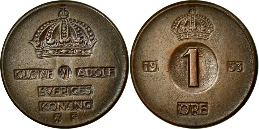 World Coins - Coin, Sweden, Gustaf VI, Ore, 1953, AU(50-53), Bronze, KM:820