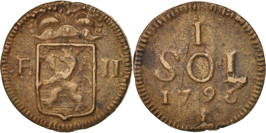 World Coins - Luxembourg, Frans II, Sol, 1795, , Copper, KM:19