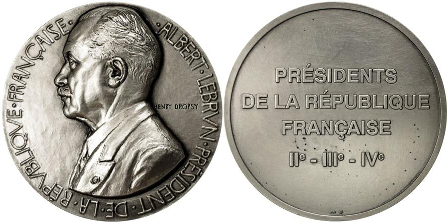 World Coins - France, Medal, Les Présidents de la République, Albert Lebrun, Dropsy