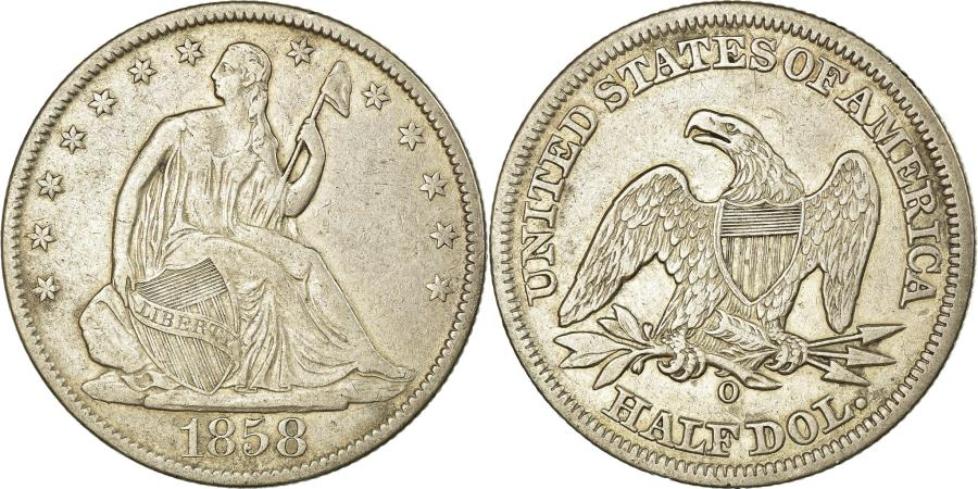 US Coins - Coin, United States, Seated Liberty Half Dollar, 1858 O, , Silver