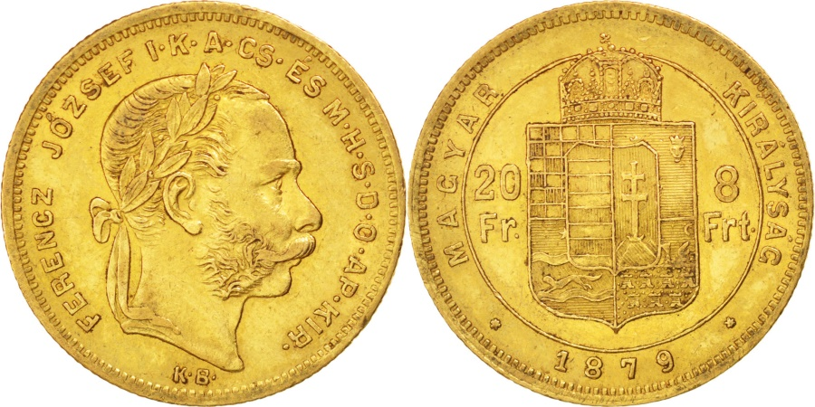 World Coins - HUNGARY, 8 Forint 20 Francs, 1879, Kremnitz, KM #455.1, , Gold, 6.44