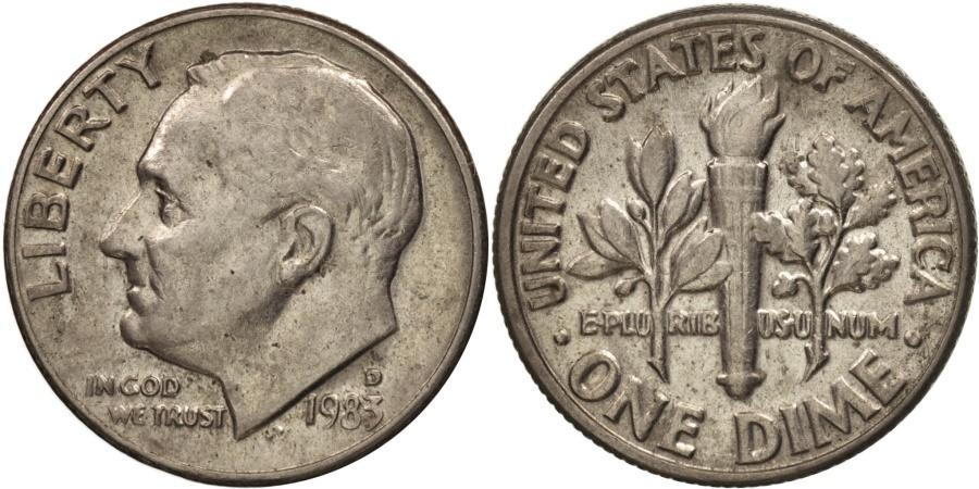 US Coins - United States, Roosevelt Dime, 1983, Denver, , KM:195a