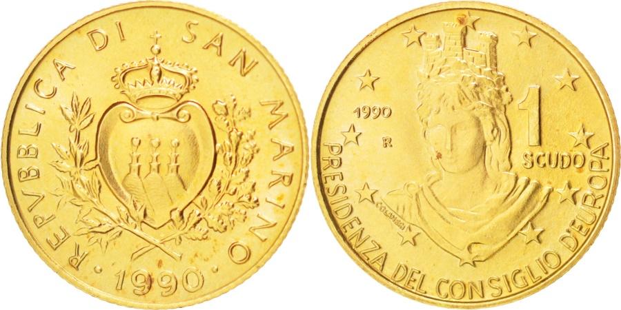 World Coins - SAN MARINO, Scudo, 1990, KM #258, , Gold, 3.23