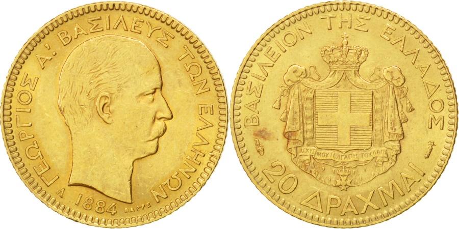 World Coins - GREECE, 20 Drachmai, 1884, Paris, KM #56, , Gold, 6.45