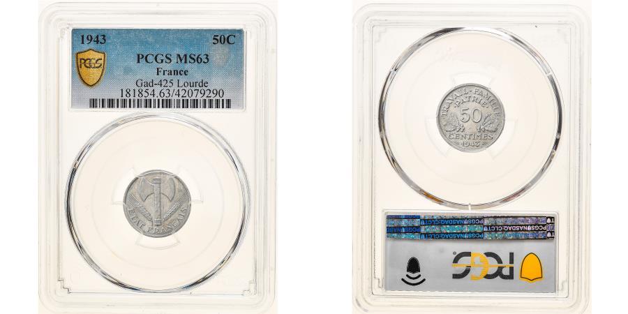 World Coins - Coin, France, 50 Centimes, 1943, Paris, Lourde, PCGS, MS63, , Aluminum