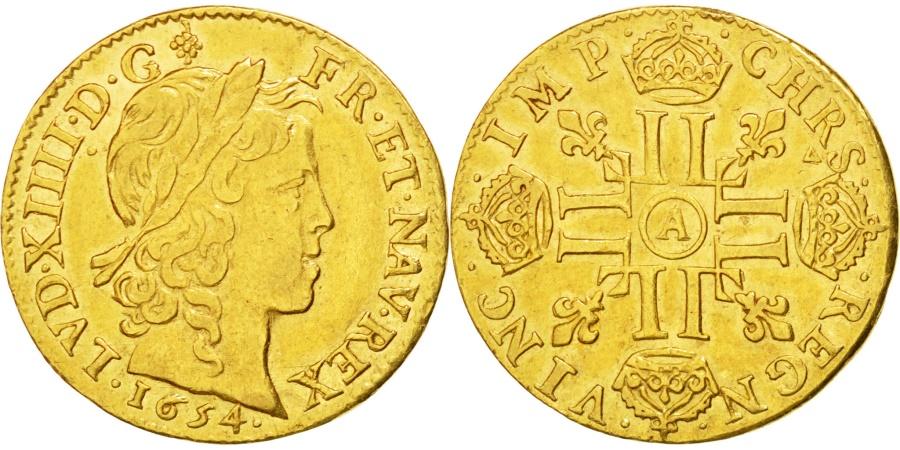 World Coins - FRANCE, Louis d'or à la mèche longue, Louis D'or, 1654, Paris, KM #157.1, AU(...