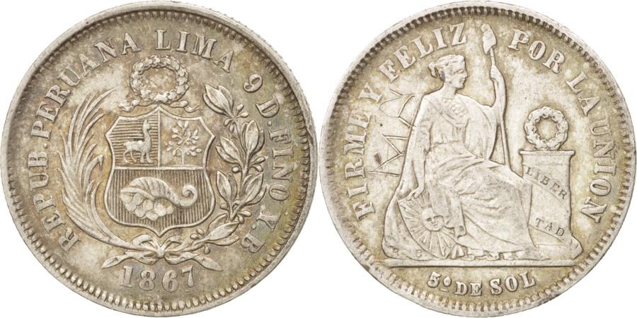 World Coins - Peru, SOUTH PERU, 1/5 Sol, 1967, Lima, , Silver, KM:191