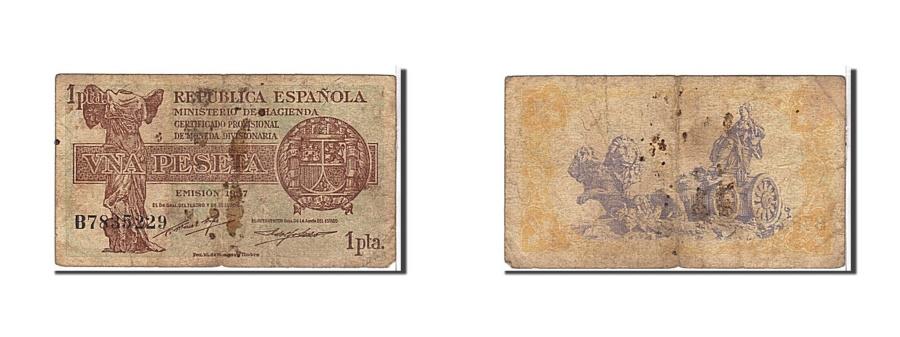 World Coins - Spain, 1 Peseta, 1937, KM #94, VF(20-25), B7835229
