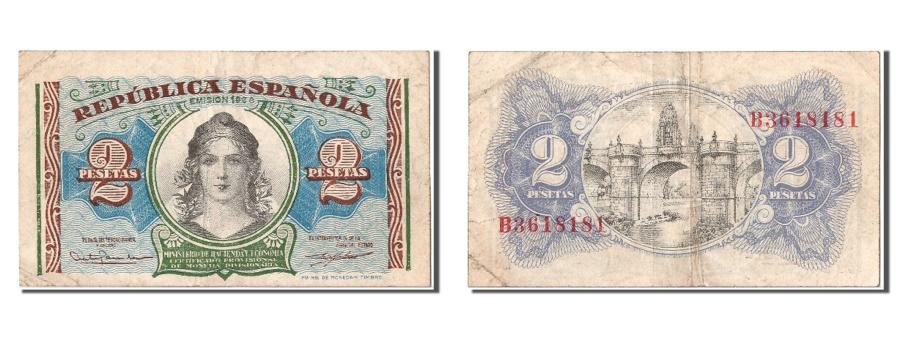 World Coins - Spain, 2 Pesetas, 1938, KM #95, EF(40-45), B3618181