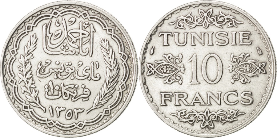 World Coins - TUNISIA, 10 Francs, 1934, Paris, KM #262, , Silver, 9.90