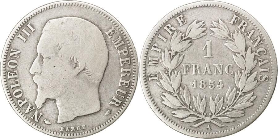 World Coins - FRANCE, Napoléon III, Franc, 1854, Paris, KM #779.1, , Silver, Gadoury