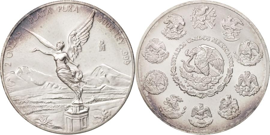 World Coins - Mexico, 2 Onzas, 2 Troy Ounces of Silver, 2002, Mexico City, , Silver