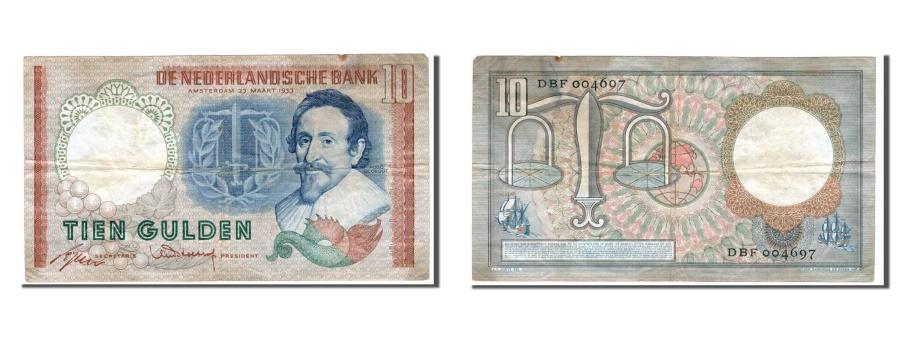 World Coins - Netherlands, 10 Gulden, 1953, KM #85, EF(40-45), DBF
