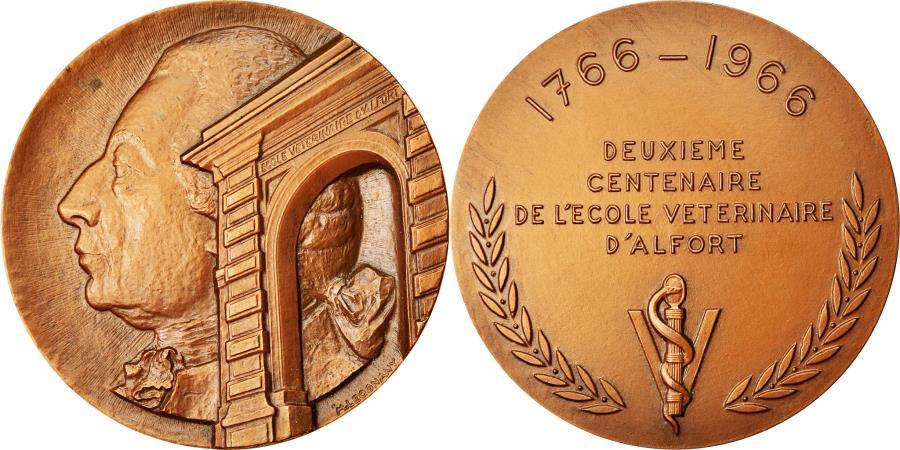 World Coins - France, Medal, Bicentenaire de l'Ecole Vétérinaire d'Alfort, Medicine, 1966