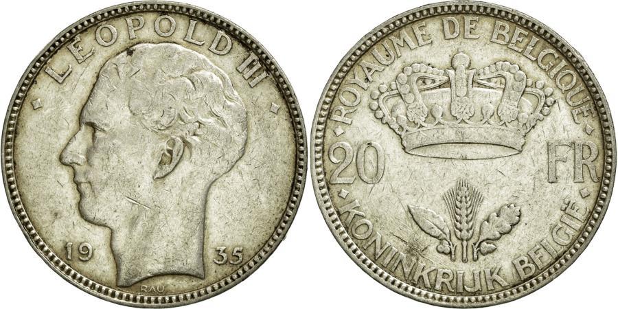 World Coins - Coin, Belgium, 20 Francs, 20 Frank, 1935, EF(40-45), Silver, KM:105