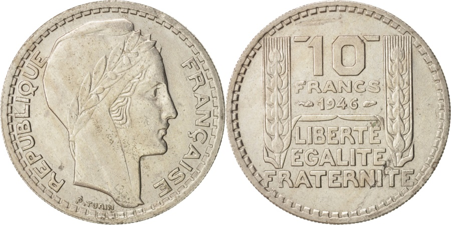 World Coins - France, Turin, 10 Francs, 1946, , Copper-nickel, KM:908.1, Gadoury:810a
