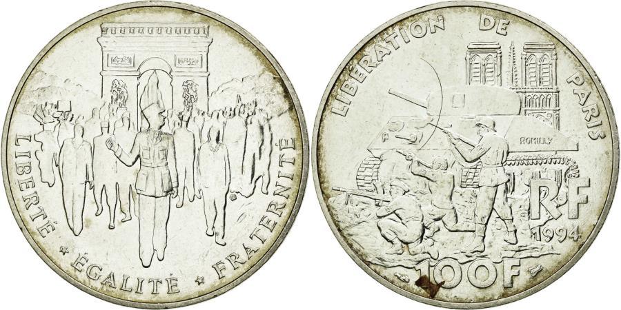World Coins - Coin, France, Libération de Paris, 100 Francs, 1994, AU(50-53), Silver