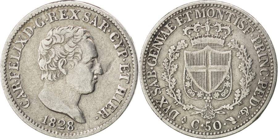 Italian states 50 centesimi 1828 torino km 124 1 ef for Coin torino