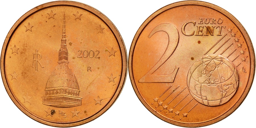 italy 2 euro cent 2002 copper plated steel km 211. Black Bedroom Furniture Sets. Home Design Ideas