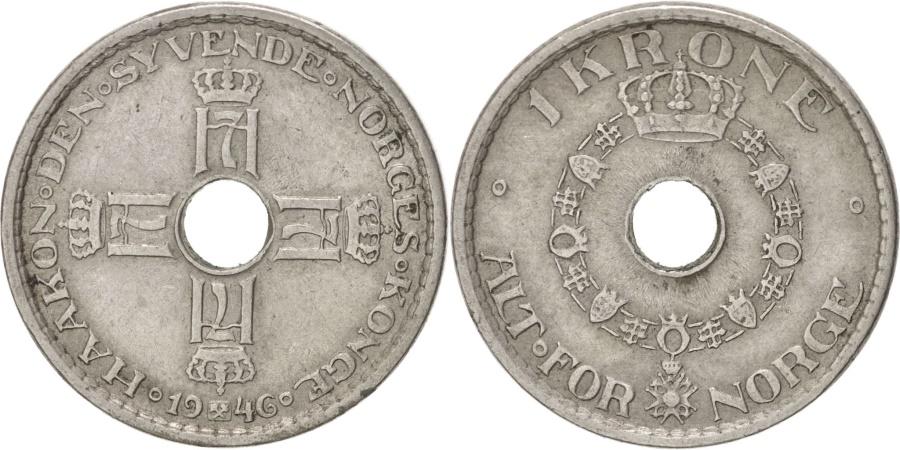 World Coins - NORWAY, Krone, 1946, KM #385, , Copper-Nickel, 25