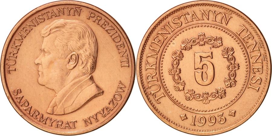 World Coins - Turkmenistan, 5 Tenge, 1993, , Copper Plated Steel, KM:2