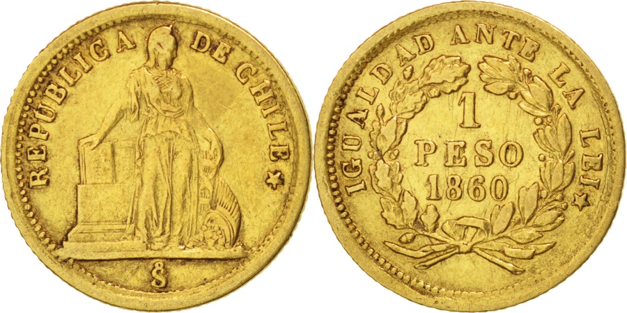 World Coins - Chile, Peso, 1860, Santiago, Gold, KM:133