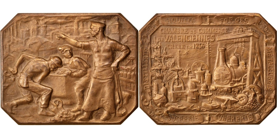 World Coins - FRANCE, Business & industry, French Third Republic, Medal, , Bronze,...