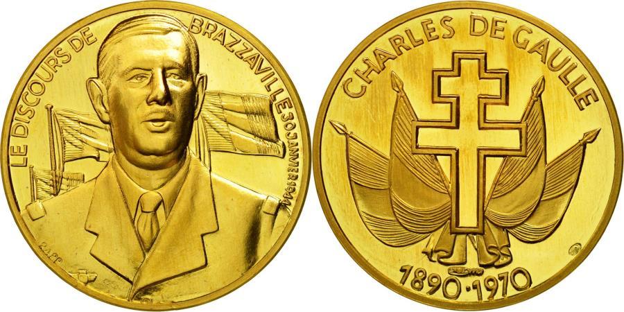 World Coins - France, Medal, Charles De Gaulle, Le Discours de Brazzaville, 30 janvier 1944