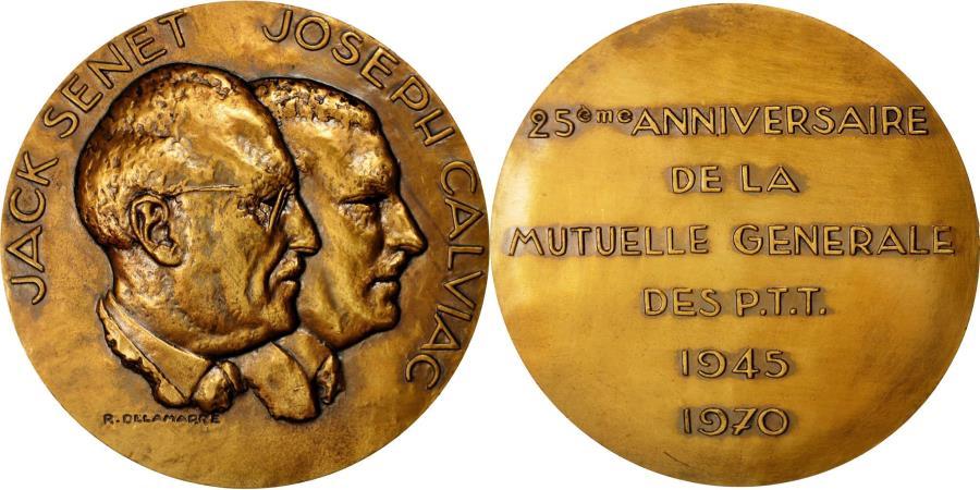 World Coins - France, Medal, MGPTT, Jack Senet-Joseph Calviac, 1970, Delamarre,
