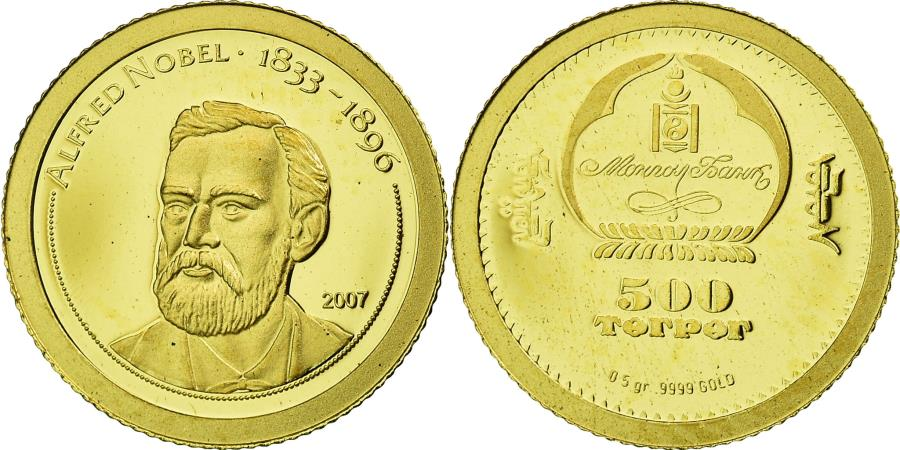 World Coins - Coin, Mongolia, Alfred Nobel, 500 Tugrik, 2007, , Gold