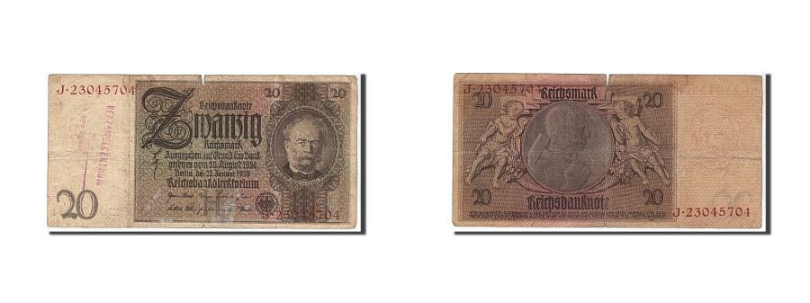 World Coins - Germany - Democratic Republic, 20 Deutsche Mark, 1929, KM #5b, VF(20-25),...